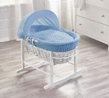 Elegant Baby Unisex Wicker Moses Basket with Rocking Stand - White/Blue