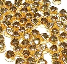 MB443f Bright Gold 5mm Corrugated Double Cone Plated Brass Spacer Beads 100/pkg