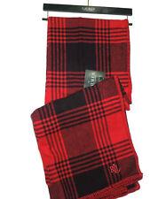 Ralph Lauren Red & Black Buffalo Plaid thick cotton Blanket throw 54 x 72