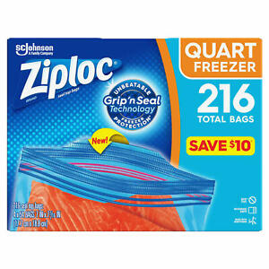 Ziploc Easy Open Tabs Freezer Quart Bags (216 ct.)