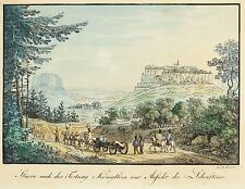 KÖNIGSTEIN - Festung - J.C.A. Richter - kolor. Umrissradierung 1825