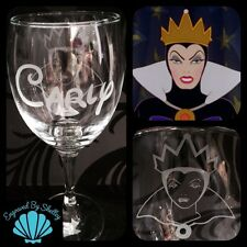Personalised Disney Snow White Evil Queen Wine Glass Handmade & Free Name!