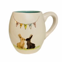 Rae Dunn Artisan Collection Magenta Easter Bunny Rabbits Ceramic Coffee Mug