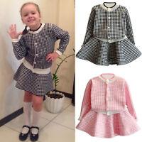 Chic 2PCS Kids Toddler Baby Girl Knitted Sweater Coat Tops Cardigan+Skirt Dress