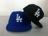 Los Angeles Dodgers Flat Bill Fitted Cap Hat Embroidered LA Adjustable Men