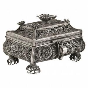 antique Silver Filigree Rose Bouquet Trinket Box Jewelry Casket
