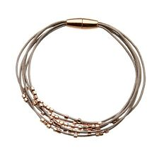 Magnetic Bracelet With Six Grey Leather Strands and Rose Gold Beads - Reeva RG