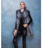 Brand Women's Real Genuine Silver Fox Fur Sleeveless Waistcoat Vest Gilet