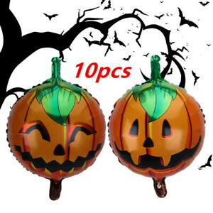 "10pcs Halloween Balloons 18"" Pumpkin Foil Balloons Home Party Hanging Decor Prop"