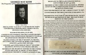 SLAVERY GAG RULE GONGRESSMAN GENERAL IRON MAYOR READING PA KEIM AUTOGRAPH SIGNED