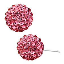 925 Silver and Crystal Shamballa Swarovski ElementsStud Earrings_Pink
