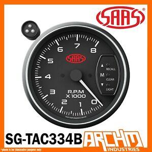 "SAAS 3.75"" TACHOMETER SHIFT LIGHT BLACK FACE 95mm 3 3/4 Performance Tacho MUSCLE"