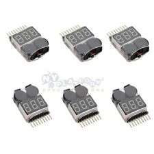 6x RC Li-Ion Battery Low Voltage Meter Tester 1-8S Buzzer Alarm For RC Control