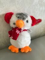 Christmas Penguin Soft Toy Card Factory New With Tag Plush Cuddly red scarf bird