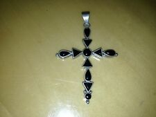 STERLING SILVER HUGE CROSS PENDANT WITH ONYX