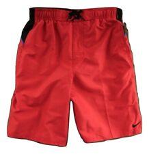 NWT! NIKE Mesh Lined Board Shorts RED & BLACK Men's Size S Elastic Swim Trunks