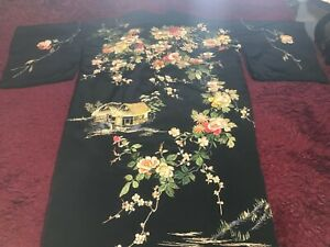 ANTIQUE VINTAGE JAPANESE  EMBROIDERED SILK KIMONO CHINESE ROBE EMBROIDERY #2
