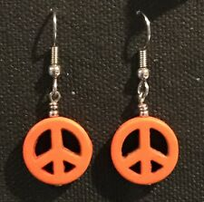 PEACE Earrings Surgical Hook New Yellow Color Howlite Dyed (small) B