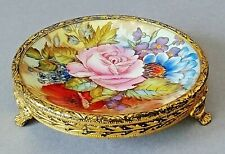 Aynsley Small Pin Dish on Fine Guilt Stand Painted Rose Flower signed J.A Bailey