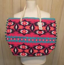Braided Rope Handle Large Tote Bag Summer Vacation Beach Market Canvas Aztec
