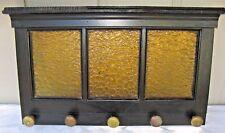 """Vtg Yellow Obscured Glass Door w 5 Antique Brass Door Knobs,Coat / Hat Rack, 32"""""""