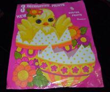 3 Large Vintage 1960's Dennison Die cut Easter Chicks Bunny Flowers Unused NIP