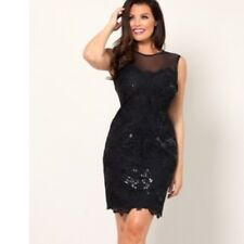 Jessica Wright @ Lipsy & Co Black Sequin Lace Bodycon Dress BNWT Size 14