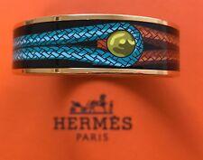 Hermes $550 Printed Enamel Bangle Bracelet PM Gold New