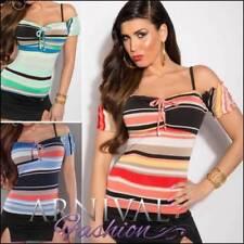 Regular Size Polyester Striped Short Sleeve Tops & Blouses for Women
