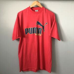 Vintage 1980s PUMA Sportswear Mens Neon Pink/Lime Green Loud Logo T-Shirt MEDIUM