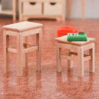 1/12 Dollhouse Miniature Wooden Stool Chair Furniture Model Toys for Decorat JR