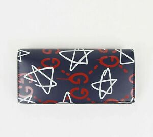Gucci Blue Leather Red/White GG Star Print Bifold Long Wallet 448466 4179