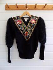 Vintage Side Effects Black V Neck Sweater Angora Jewels Evening Glam Party - Sm.