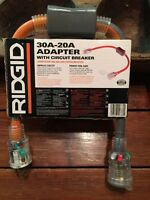 Ridgid 30A-20A Converter Adapter with Circuit Breaker 10 gauge