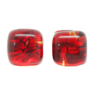 Murano Glass Stud Earrings Red and Gold Handmade Venice