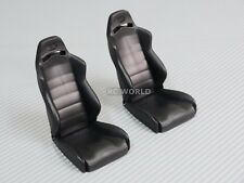 RC 1/10 Scale Accessories BLACK BUCKET SEATS Reclineable  2 Black  Seats