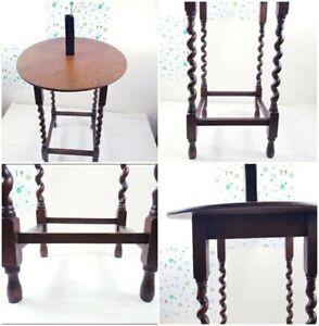 Vintage Antique Barley Twist Solid Oak Wood Occasional  Hall Side Lamp Table
