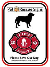 Pet Fire Rescue Dog Sign Reflective Aluminum 8 ½ inches by 11 inches