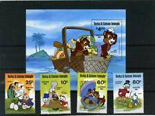 TURKS & CAICOS ISLANDS 1981 WALT DISNEY EASTER SET OF 4 STAMPS & S/S MNH