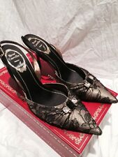 Rene Caovilla black and gold lace pointed toe sling back heels NEW $1250 retail