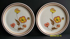 """2 Vintage Fuji Stone Anemone Floral Collection Poppy Flowers 10.5"""" Plate"""