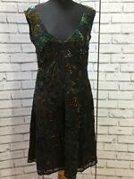 EAST Silk Velvet Devore  Sequin Dress Black Floral Size 12