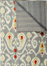 Queen Ikat Quilt Blanket In Gray, Gray Ikat Kantha Paisely Quilt Blanket Bedding