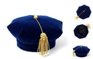 Graduation Doctoral Tam Blue Velvet 8 Sided with Gold Bullion Blue 8 Sides