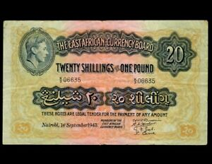 EAST AFRICA 20 Shilling 1943  P-30  VF