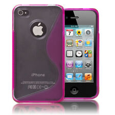 Hotpink S-Series TPU  Case Cover Clear Bumper For Apple iPhone 4 4G 4S