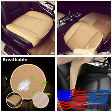 US Stock 3D Breathable Full Surround Universal Car Seat Cushion PU Leather Beige