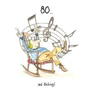 80 And Rocking! Camilla & Rose Birthday Card, funny, humorous, and, 80th, male