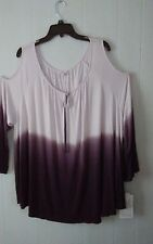 SONOMA   SIZE 2XL   COLD SHOULDER PURPLE BLOUSE WITH 3/4 SLEEVES