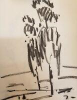 "JOSE TRUJILLO Modernist Original Charcoal Paper Sketch Drawing 12"" Tall Trees"
